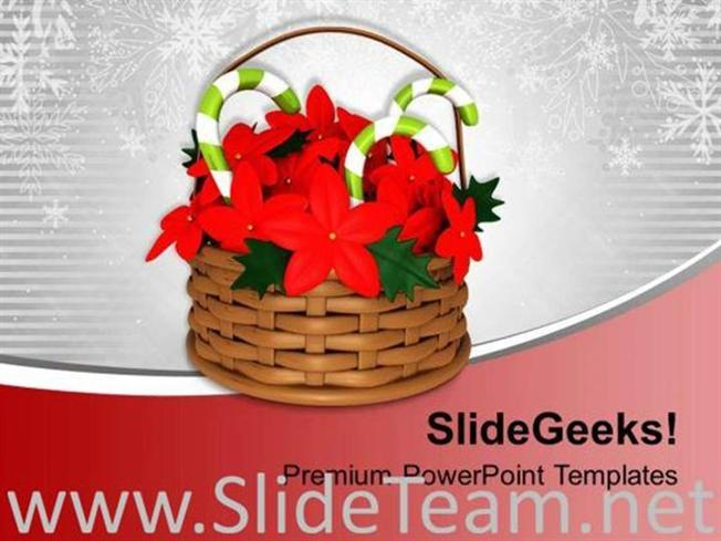 Flower Basket With Candy Cane Powerpoint Template Powerpoint Template