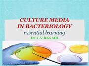 CULTURE MEDIA IN BACTERIOLOGY