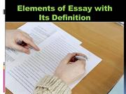 Elements of Essay with Its Definition