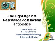 Fight against Resistance to Beta lactam antibiotics