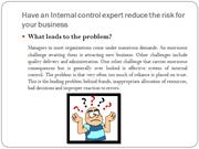 Have an Internal control expert reduce the risk