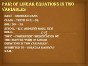 pair of linear equations in two variables by SHUBHAM MANN