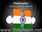 PUZZLE PIECE WITH INDIAN FLAG POWERPOINT TEMPLATES PPT BACKGROUND