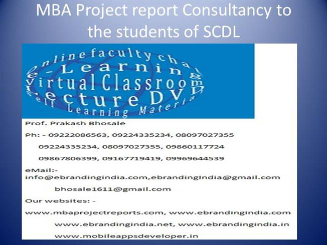 Mba project report consultancy to the students of scdl authorstream yadclub Choice Image