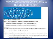 MBA Project report Consultancy to the students of SCDL