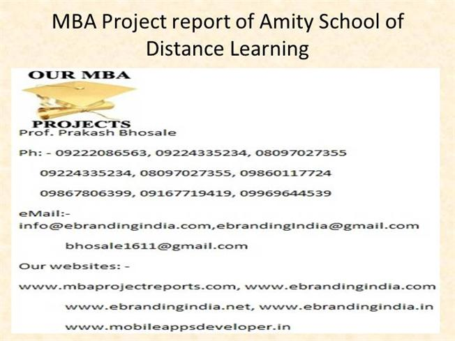 Mba project report of amity school of distance learning authorstream yelopaper Image collections