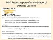 MBA Project report of Amity School of Distance Learning