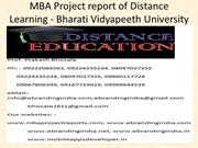MBA Project report of Distance Learning - Bharati Vidyapeeth Universit