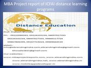 MBA Project report of ICFAI distance learning programs