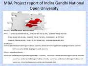 MBA Project report of Indira Gandhi National Open University