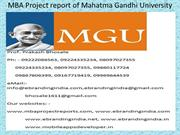MBA Project report of Mahatma Gandhi University
