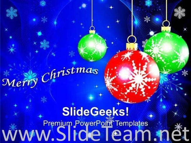 Hanging Filigree On Christmas Background Powerpoint Template