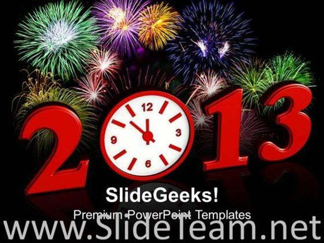 fireworks and new year arrival powerpoint templates ppt background powerpoint template