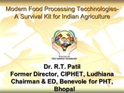 Post Harvest Technology-A Keyto Survivalof Indian Agriculture