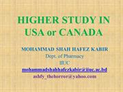 Higher Study in USA or CANADA