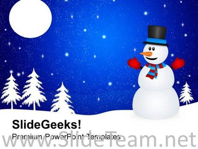 Winter Background With Snowman Holidays Powerpoint Template