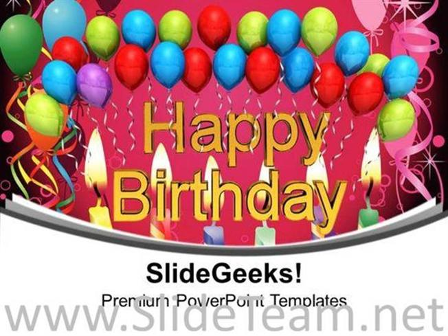 Happy Birthday With Balloons Powerpoint Templates Ppt