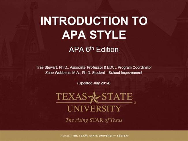 module 1 what is apa style apa 6th ed authorstream