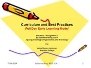 Full-Day Early Learning Curriculum and Best Practices
