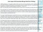 Joint Japan US Committee Brings Gold Out of Hiding