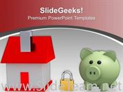 HOUSE LOCKED AND PIGGY BANK SECURITY POWERPOINT TEMPLATE
