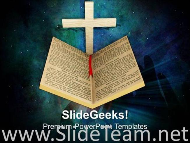 holy bible and cross religion powerpoint template powerpoint template