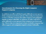 Questionnaire for Choosing the Right Computer Support Company