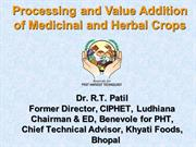 Processing of Herbal and Medicinal Crops