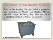 Parameters of Automatic Bar Bending Machine