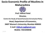 Socio Economic Profile of Muslims in Maharashtra by Vibhuti Patel