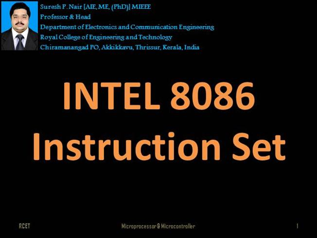 Intel 8086 Instruction Set Authorstream