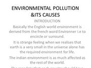 Environmental pollution & its causes