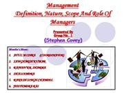 NATURE AND SCOPE OF  MANAGEMENT