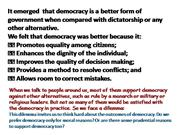 OUTCOME OF DEMOCRACY