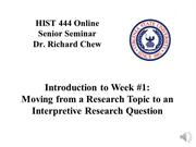 Powerpoint 01 - Moving from Research Topic to an Interpretive Research