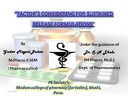 factors considring sustain release formulation
