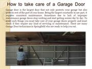 How to Take Care of a Garage Door