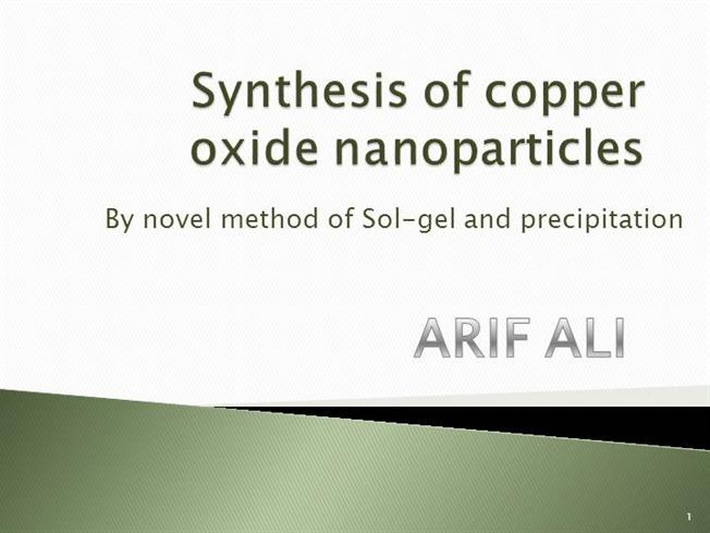 Synthesis of Copper Oxide Nanoparticals |authorSTREAM