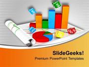 PIE AND BAR GRAPH FOR BUSINESS STRATEGY POWERPOINT TEMPLATE