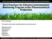 Best Practices for Effective Environmental Monitoring Program in BioPh