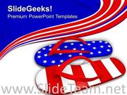 RED WHITE AND BLUE FLIP FLOP SANDALS POWERPOINT TEMPLATE