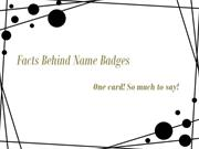 Use of Reusable Name Badges