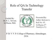 Role of QA in Technology Transfer