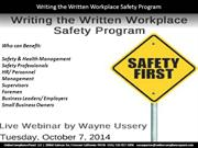 Writing the Written Workplace Safety Program