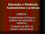 Educação a Distância fundamentos e práticas