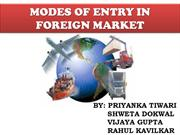 DIFFERENT MODES OF ENTRY IN FOREIGN MARKET