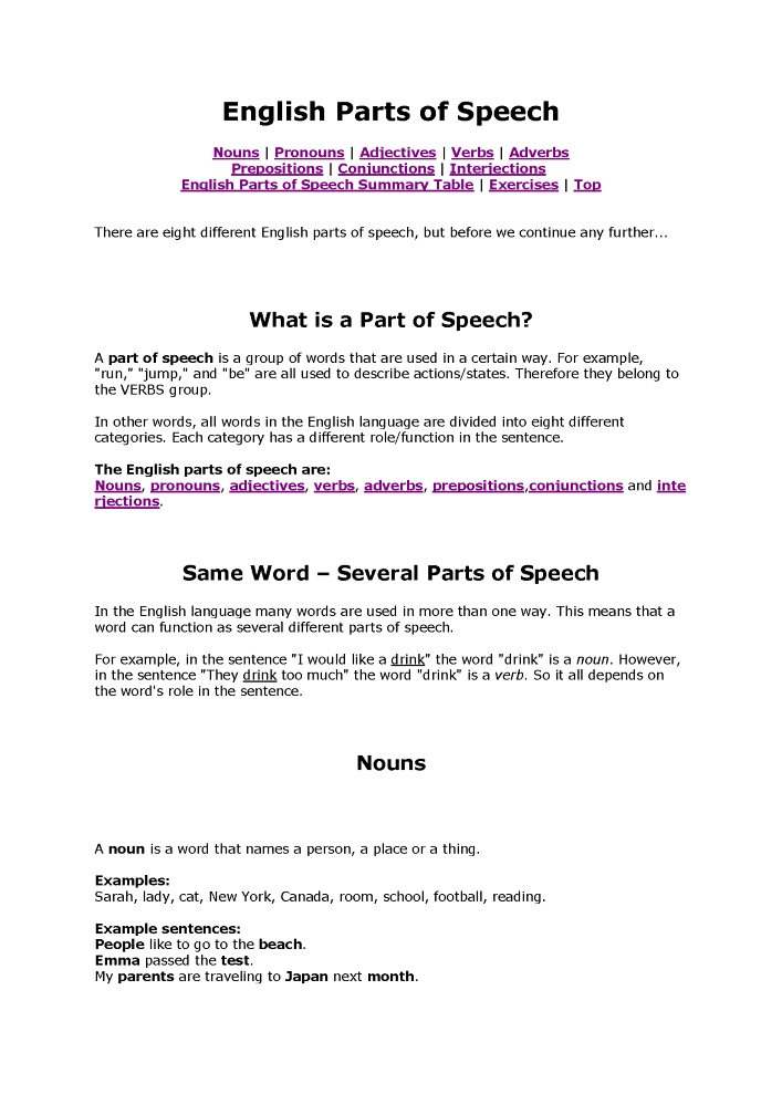 Parts Of Speech With Illustration Authorstream