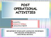 post operational activities in pharmaceutials