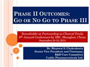 Phase II Outcomes: Go or No Go to Phase III