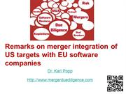 Merger integration of US tech targets with EU companies